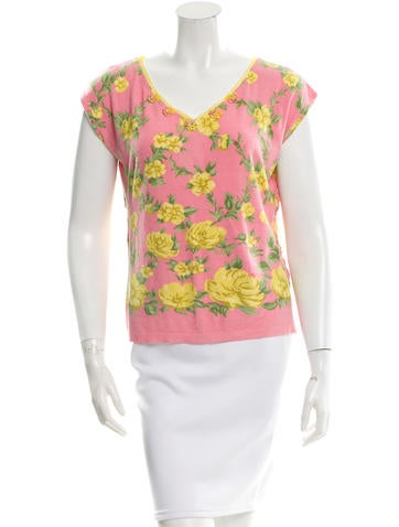 Blumarine Floral Pattern Knit Top None