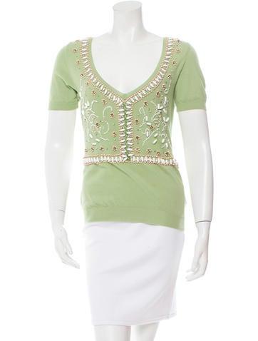 Blumarine Embellished Short Sleeve Top None