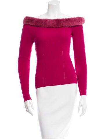 Blumarine Fur-Trimmed Long Sleeve Top None
