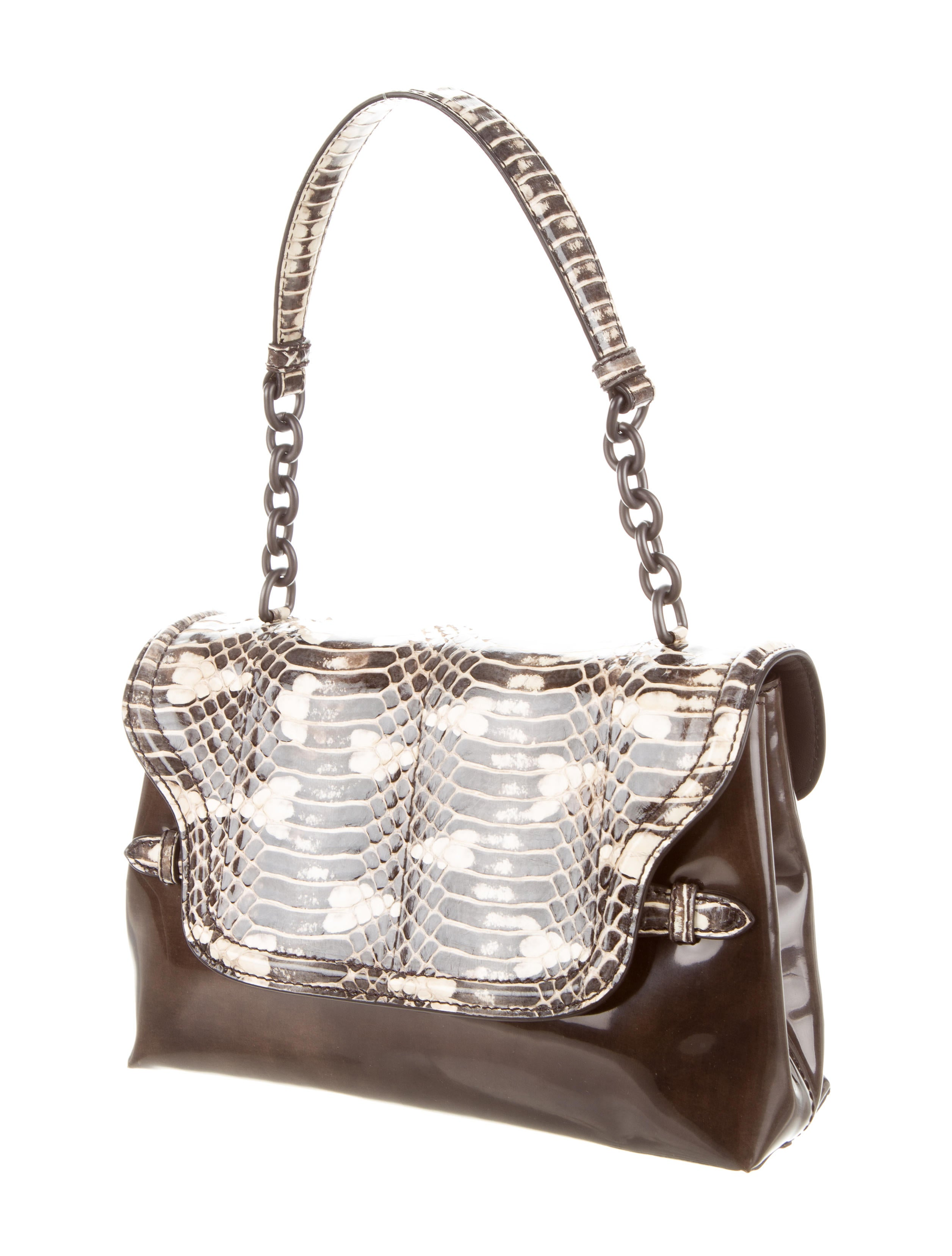 41f1ac49f5 Bottega Veneta Python-Accented Glazed Shoulder Bag - Handbags .