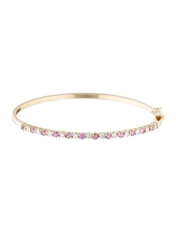 14K Pink Sapphire & Diamond Bangle Bracelet None