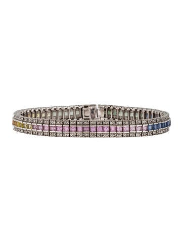 14K Rainbow Sapphire and Diamond Bracelet
