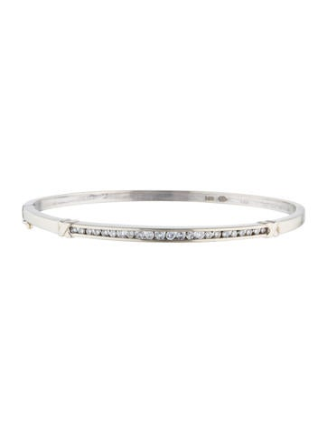 14K Diamond Bar Hinged Bangle
