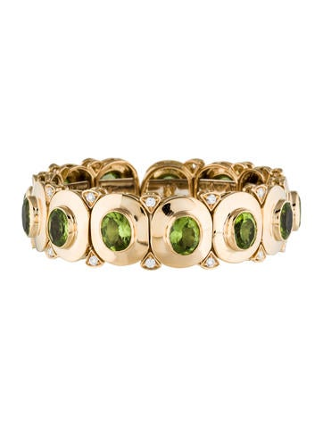 18K Peridot & Diamond Bracelet None