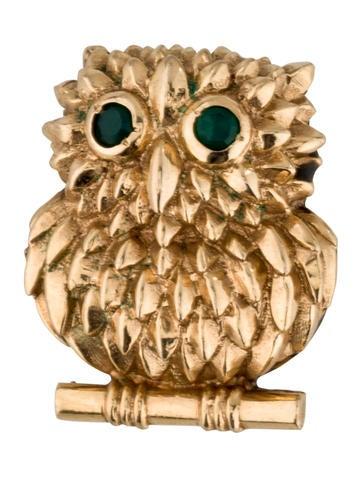 14K Emerald Owl Brooch