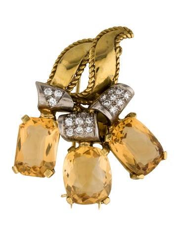 Two-Tone Citrine & Diamond Bouquet Brooch