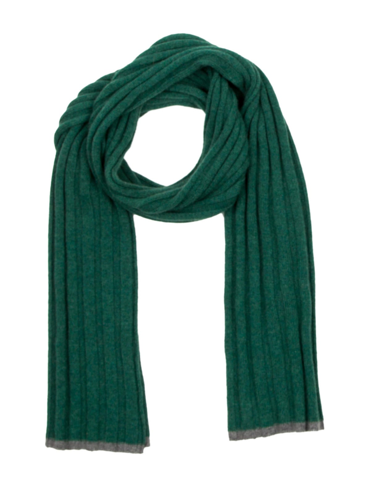 green rib knit brunello cucinelli scarf with