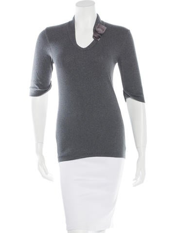Brunello Cucinelli V-Neck Rib-Knit Top None