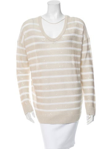 Brunello Cucinelli Sequined Linen-Blend Sweater w/ Tags None