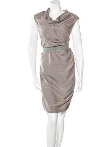 Brunello Cucinelli Silk Striped Dress None