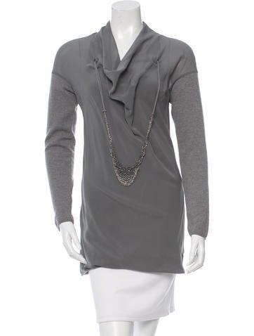 Brunello Cucinelli Monili-Embellished Cashmere & Silk Top None