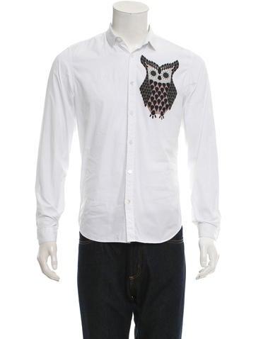 Burberry Prorsum Owl Graphic Button-Up Shirt
