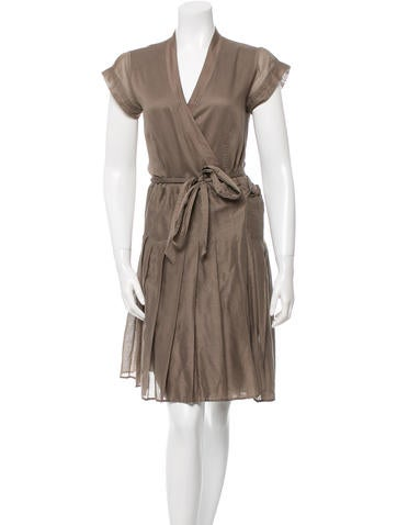 burberry belted pleated dress clothing bur50228 the