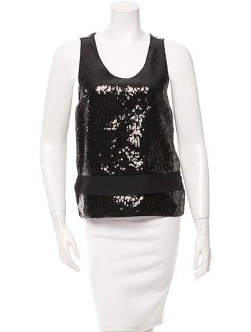 Cacharel Sequin-Embellished Silk-Blend Top None
