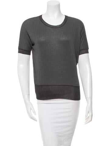 Calvin Klein Collection Silk-Trimmed Knitted Top None