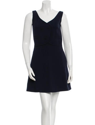 Carven Wool V-Neck Dress w/ Tags None