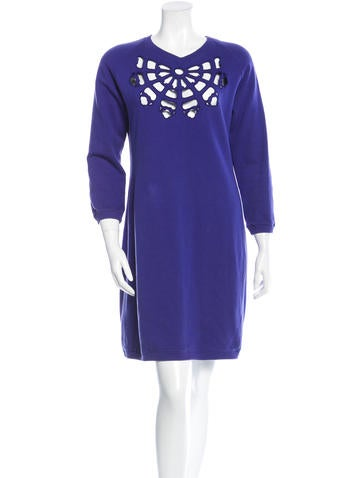 Carven Eyelet Sweater Dress None