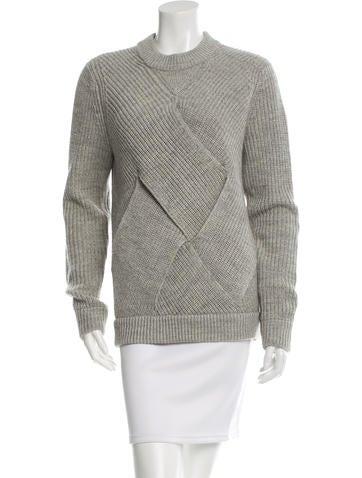 Carven Wool Rib Knit Sweater None