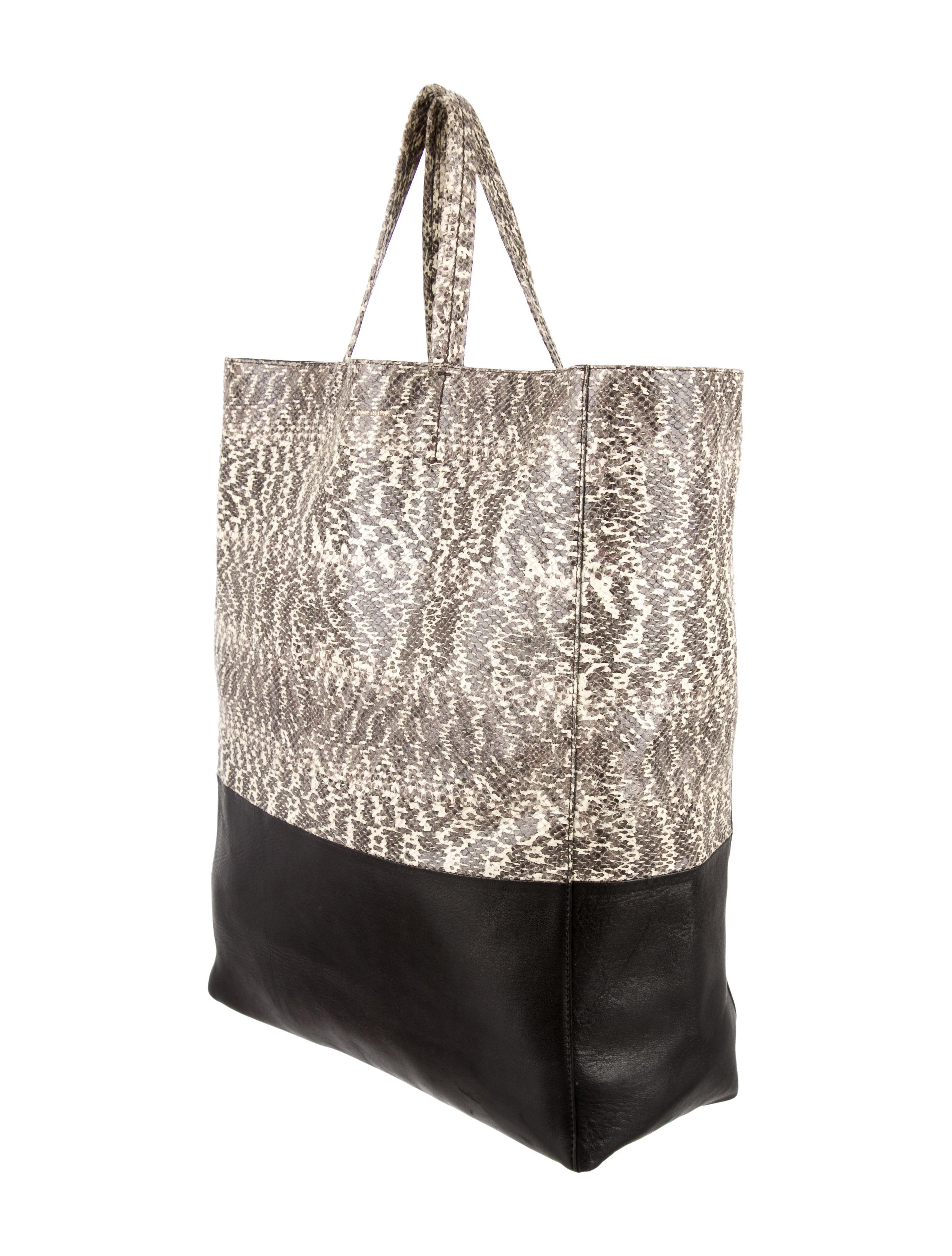 celine black leather luggage tote bag - C��line Bi-Color Vertical Cabas Tote - Handbags - CEL32844 | The ...