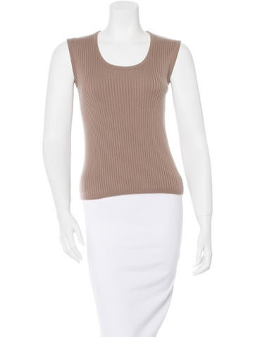 Céline Sleeveless Rib Knit Top None