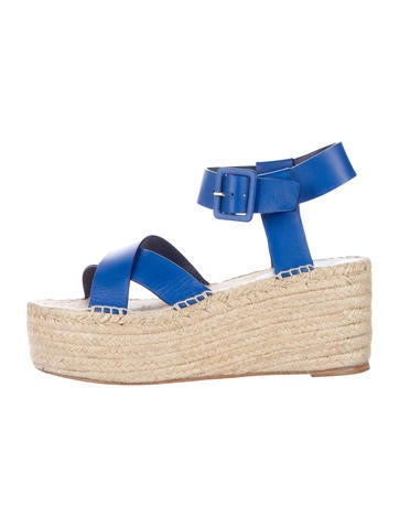Céline Leather Platform Wedges None