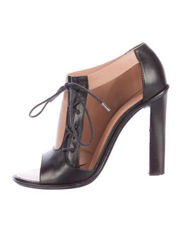 Céline Leather Cutout Booties None