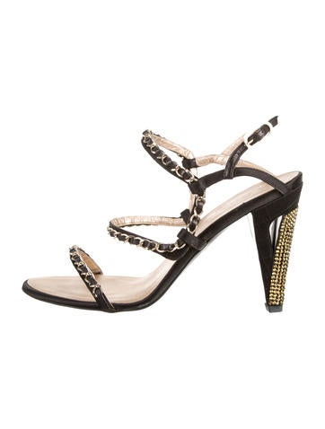 Chanel Satin Chain-Embellished Sandals