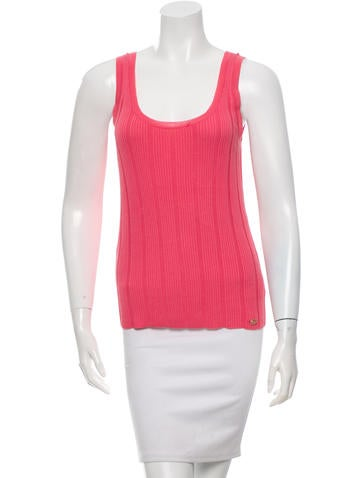 Chanel Sleeveless Rib Knit Top None