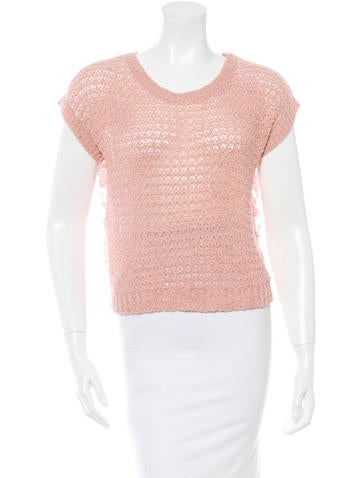 Chanel Lace Back Open-Knit Sweater None