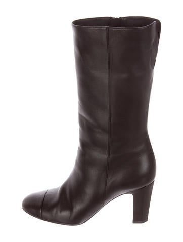 Chanel Leather Round-Toe Boots