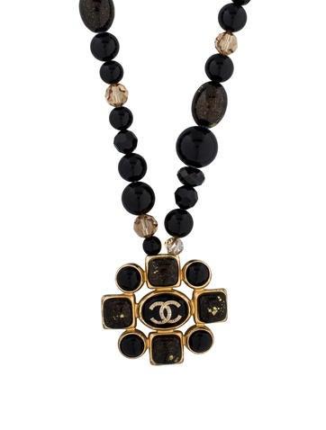 Chanel Beaded CC Medallion Pendant Necklace