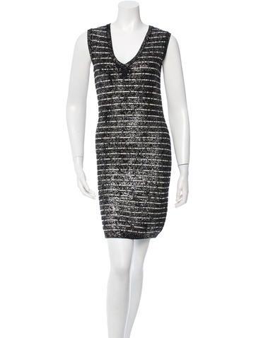 Chanel Wool Metallic Sheath Dress None