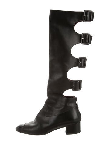 Chanel Leather Cutout Boots