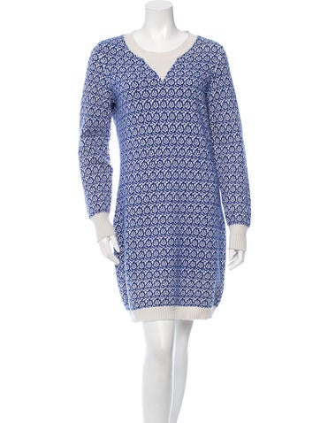 Chanel Cashmere Patterned Sweater Dress