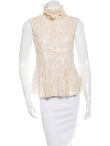 Chanel Coated Lace Sleeveless Top w/ Tags None