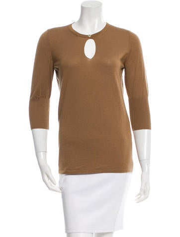 Chanel Cashmere Rib Knit-Trimmed Sweater None