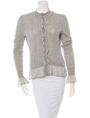 Chanel Cashmere Ruffle-Trimmed Cardigan None