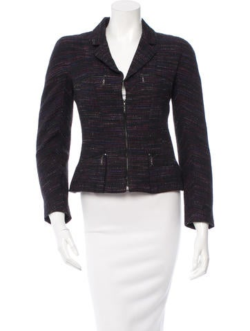 Chanel Stripe Pattern Zipped Jacket None