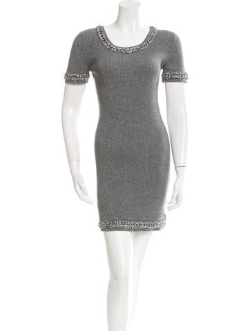 Chanel Chain-Trimmed Knit Dress None
