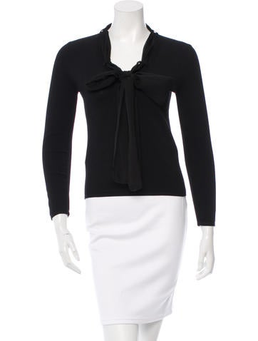 Chanel Silk-Accented V-Neck Top None
