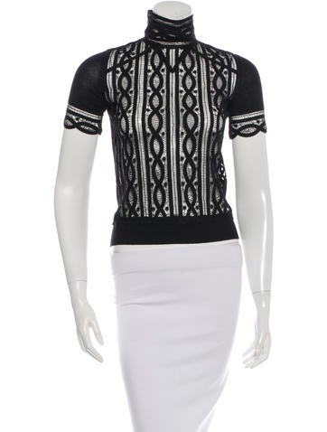 Chanel Lace Short Sleeve Top None