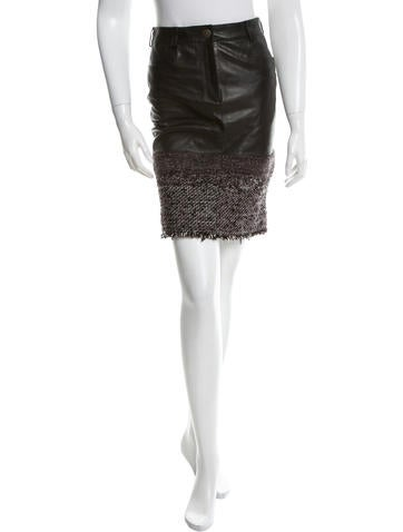 Chanel Leather Pencil Skirt None