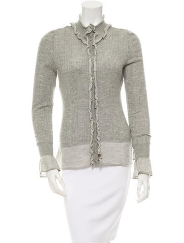 Chanel Ruffle-Trimmed Cashmere Cardigan None