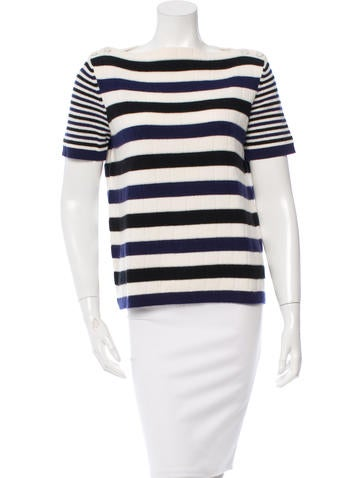 Chanel Striped Cashmere Top None
