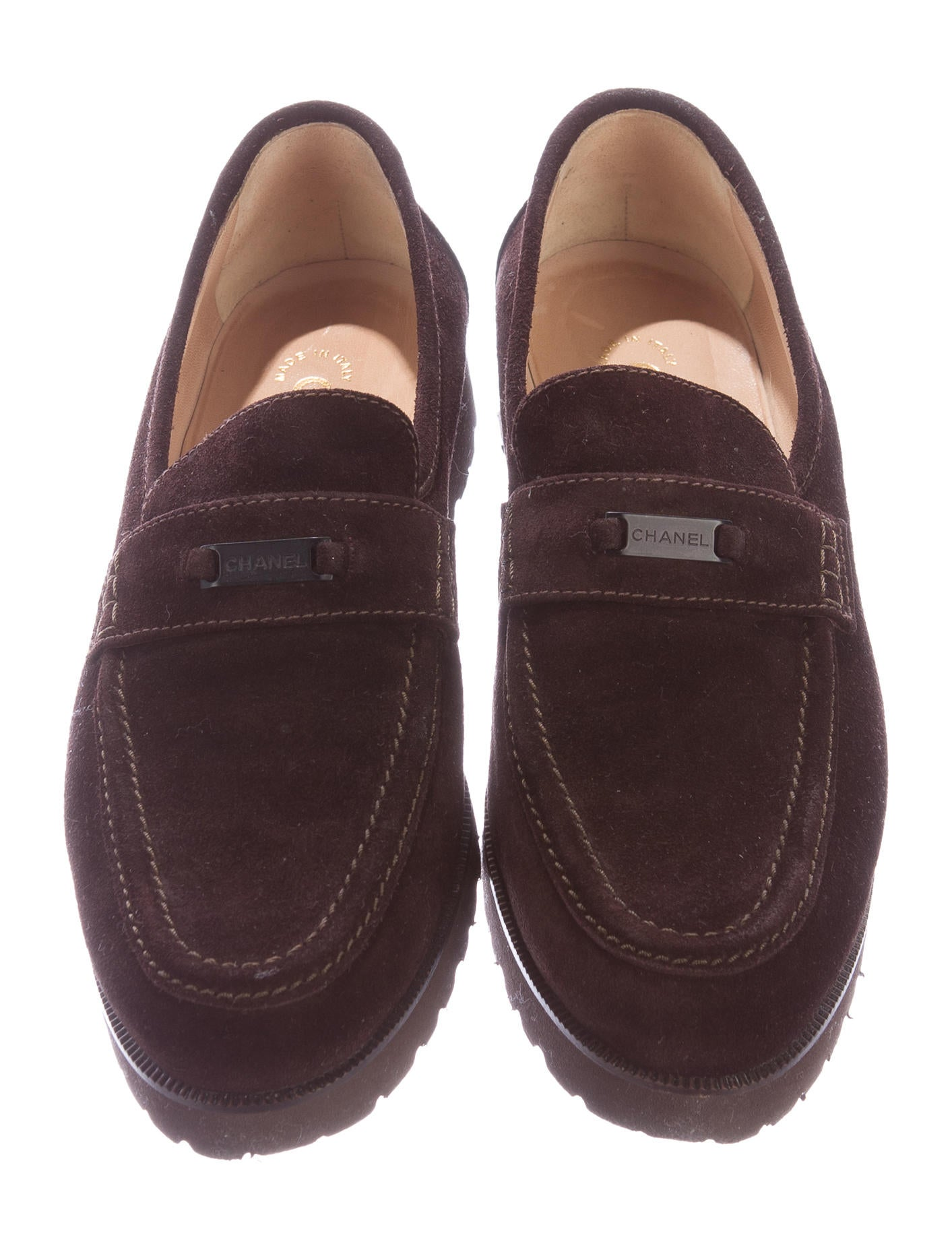 Chanel Suede Penny Loafers - Shoes - CHA127477 | The RealReal