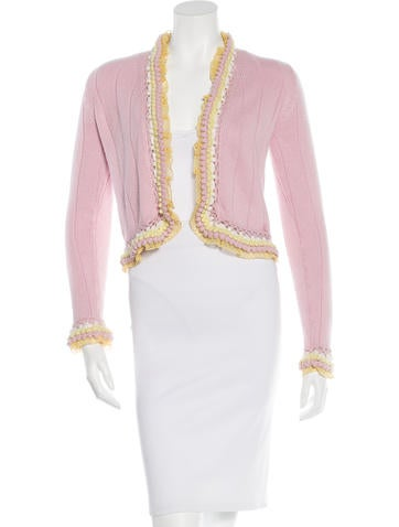 Chanel Embroidered Cashmere Blend Cardigan None