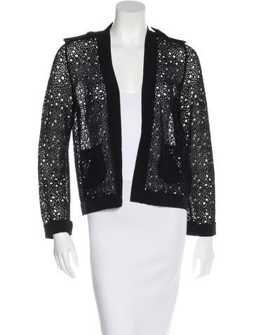 Chanel Rib Knit-Trimmed Open-Knit Cardigan None