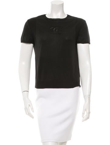 Chanel Logo Knit Short Sleeve Top None