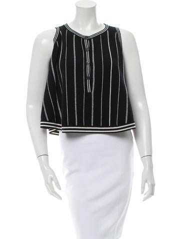Chanel Stripe Cashmere Top None