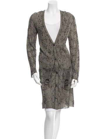 Chanel Metallic Patterned Cardigan None